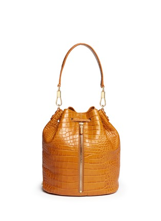 Main View - Click To Enlarge - Elizabeth and James - 'Cynnie Sling' croc effect leather bucket bag