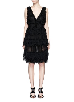 Main View - Click To Enlarge - Alexander McQueen - Shredded ruffle V-neck tiered knit dress