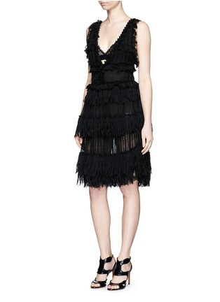 Figure View - Click To Enlarge - Alexander McQueen - Shredded ruffle V-neck tiered knit dress