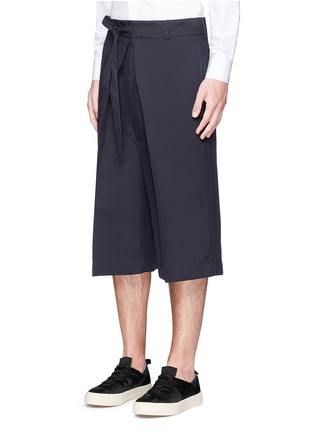 Front View - Click To Enlarge - ALEXANDER MCQUEEN - Oversize pleat front cotton-silk gabardine cropped pants