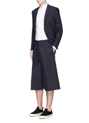 Figure View - Click To Enlarge - ALEXANDER MCQUEEN - Oversize pleat front cotton-silk gabardine cropped pants