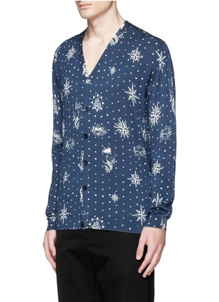 Front View - Click To Enlarge - Alexander McQueen - Nautical polka dot print cotton-silk cardigan