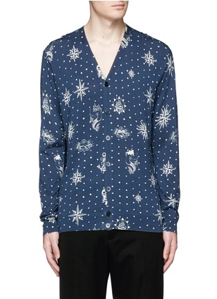 Main View - Click To Enlarge - Alexander McQueen - Nautical polka dot print cotton-silk cardigan