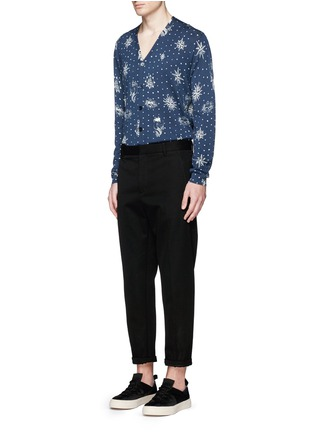 Figure View - Click To Enlarge - Alexander McQueen - Nautical polka dot print cotton-silk cardigan