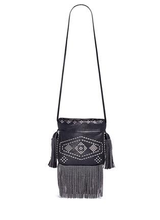 Back View - Click To Enlarge - SAINT LAURENT - 'Helena' small stud fringe leather bucket bag