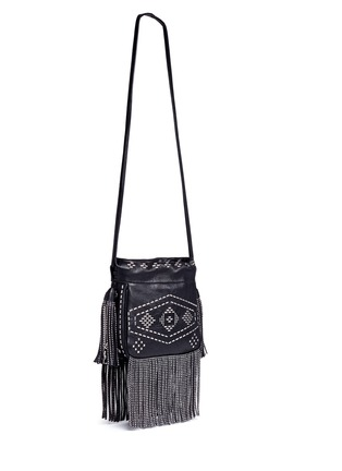 Front View - Click To Enlarge - SAINT LAURENT - 'Helena' small stud fringe leather bucket bag
