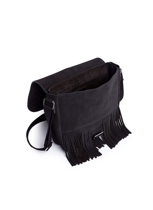 Detail View - Click To Enlarge - SAINT LAURENT - 'Army' fringe front suede messenger bag