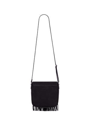 Back View - Click To Enlarge - SAINT LAURENT - 'Army' fringe front suede messenger bag