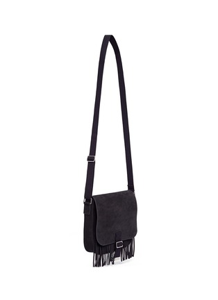 Front View - Click To Enlarge - SAINT LAURENT - 'Army' fringe front suede messenger bag