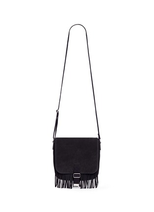 Main View - Click To Enlarge - SAINT LAURENT - 'Army' fringe front suede messenger bag