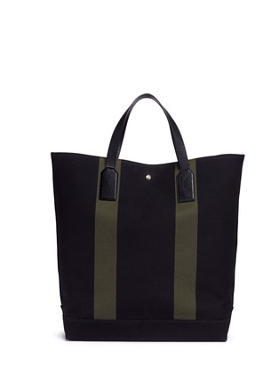 Back View - Click To Enlarge - SAINT LAURENT - 'Beach Shopper' stripe canvas tote bag