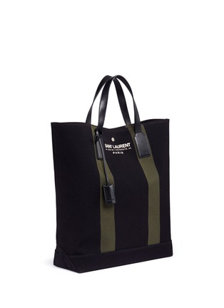 Front View - Click To Enlarge - SAINT LAURENT - 'Beach Shopper' stripe canvas tote bag