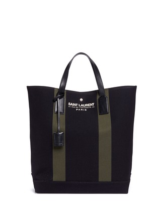 Main View - Click To Enlarge - SAINT LAURENT - 'Beach Shopper' stripe canvas tote bag