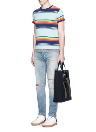 Figure View - Click To Enlarge - SAINT LAURENT - 'Beach Shopper' stripe canvas tote bag