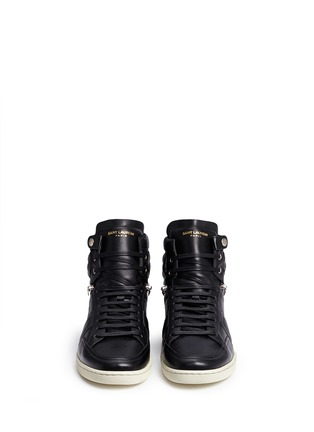 Front View - Click To Enlarge - SAINT LAURENT - 'SL/34' zip ankle leather high top sneakers