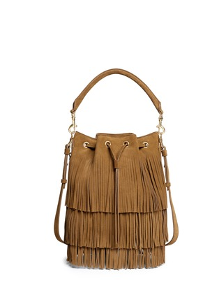 Main View - Click To Enlarge - SAINT LAURENT - 'Emmanuelle' fringe suede bucket bag