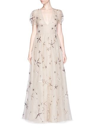 Detail View - Click To Enlarge - Valentino - Sequin starfish silk organza gown