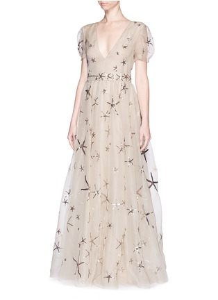 Front View - Click To Enlarge - Valentino - Sequin starfish silk organza gown