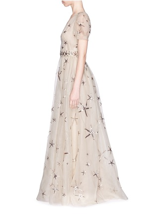 Figure View - Click To Enlarge - Valentino - Sequin starfish silk organza gown