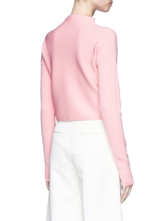 Back View - Click To Enlarge - TIBI - Mock neck cropped rib knit sweater