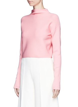 Front View - Click To Enlarge - TIBI - Mock neck cropped rib knit sweater