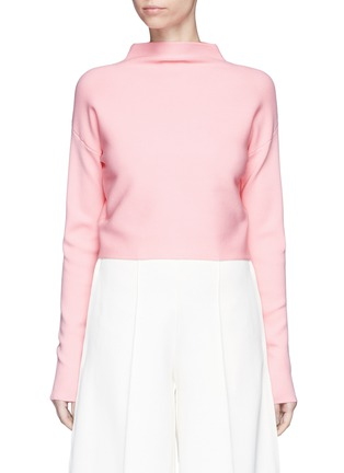 Main View - Click To Enlarge - TIBI - Mock neck cropped rib knit sweater
