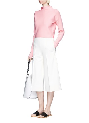 Figure View - Click To Enlarge - TIBI - Mock neck cropped rib knit sweater