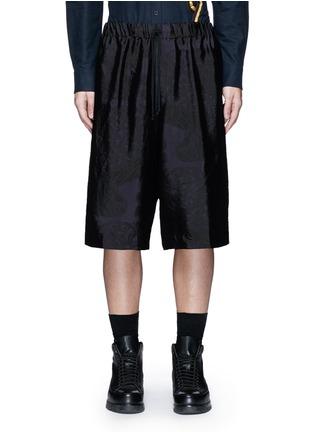 Main View - Click To Enlarge - DRIES VAN NOTEN - Peacock jacquard elastic waist shorts