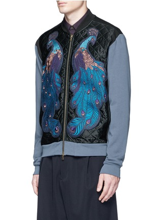 Front View - Click To Enlarge - Dries Van Noten - ''Hamish' Peacock embroidery satin bomber jacket