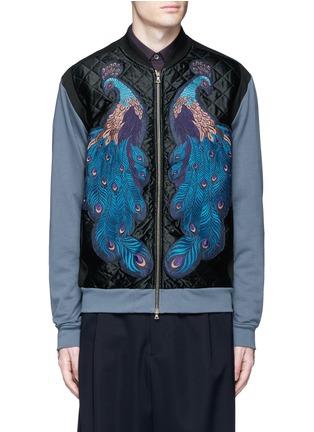 Main View - Click To Enlarge - Dries Van Noten - ''Hamish' Peacock embroidery satin bomber jacket