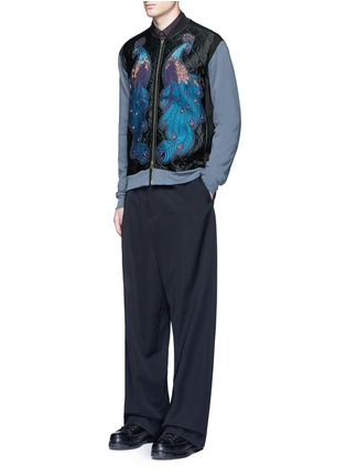 Figure View - Click To Enlarge - Dries Van Noten - ''Hamish' Peacock embroidery satin bomber jacket