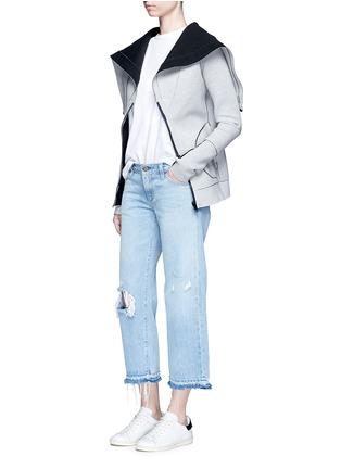 Figure View - Click To Enlarge - NORMA KAMALI - Reversible bonded jersey zip hoodie