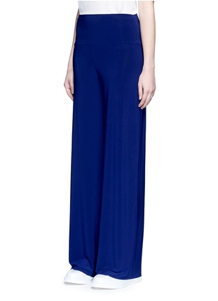 Front View - Click To Enlarge - Norma Kamali - 'Straight Leg Pant Go' in Blueberry