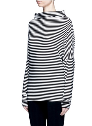 Front View - Click To Enlarge - Norma Kamali - 'All In One Mini' stripe convertible jersey skirt top