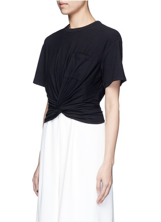 Front View - Click To Enlarge - T By Alexander Wang - Twist front cropped T-shirt