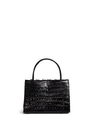 Back View - Click To Enlarge - Nancy Gonzalez - 'Small Wallis' flower appliqué crocodile leather bag