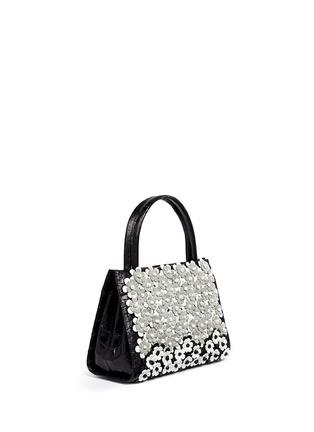 Figure View - Click To Enlarge - Nancy Gonzalez - 'Small Wallis' flower appliqué crocodile leather bag