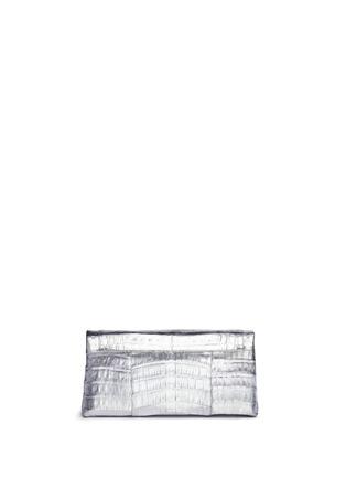 Back View - Click To Enlarge - NANCY GONZALEZ - 'Gotham' metallic crocodile leather shoulder strap clutch