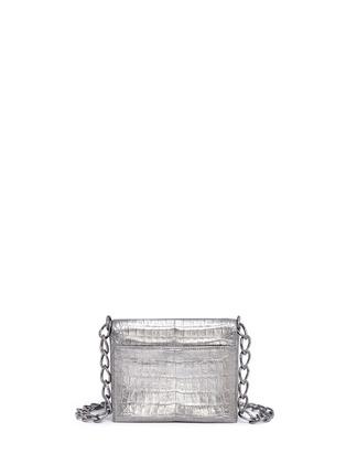 Back View - Click To Enlarge - Nancy Gonzalez - 'Gio' embellished metallic crocodile leather crossbody bag