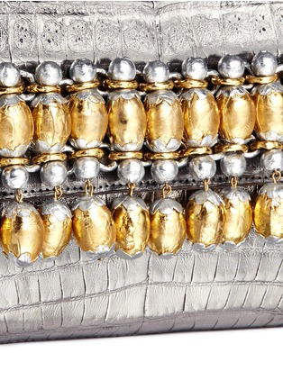 Detail View - Click To Enlarge - Nancy Gonzalez - Embellished metallic crocodile leather clutch