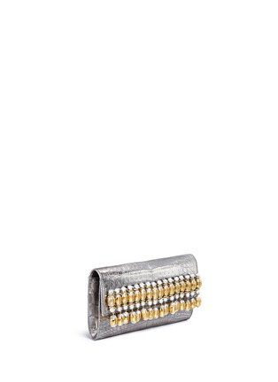 Figure View - Click To Enlarge - Nancy Gonzalez - Embellished metallic crocodile leather clutch