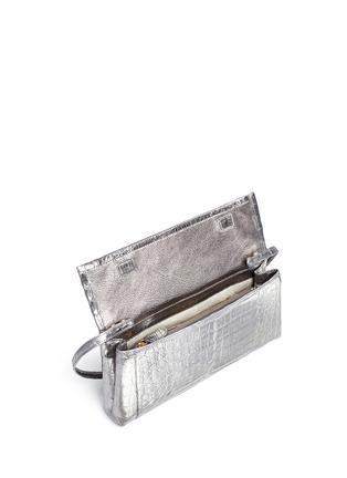 Detail View - Click To Enlarge - Nancy Gonzalez - 'Gotham' metallic crocodile leather shoulder strap clutch