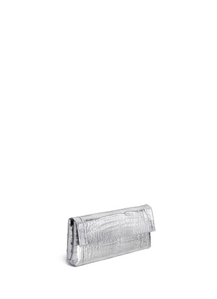 Figure View - Click To Enlarge - Nancy Gonzalez - 'Gotham' metallic crocodile leather shoulder strap clutch