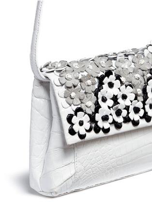 Detail View - Click To Enlarge - Nancy Gonzalez - 'Gotham' flower appliqué crocodile leather clutch