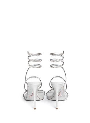 Back View - Click To Enlarge - René Caovilla - 'Snake' strass pavé spring coil anklet sandals