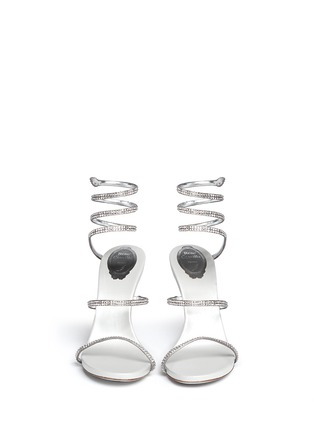 Front View - Click To Enlarge - René Caovilla - 'Snake' strass pavé spring coil anklet sandals