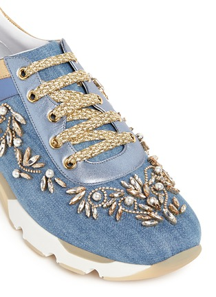 Detail View - Click To Enlarge - René Caovilla - 'Running' crystal appliqué leather trim denim sneakers