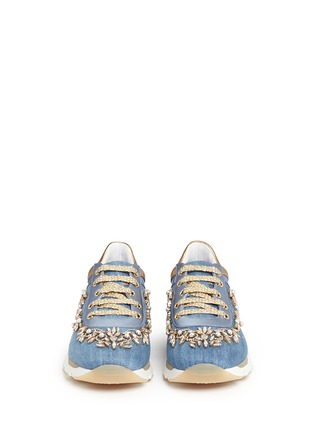 Front View - Click To Enlarge - René Caovilla - 'Running' crystal appliqué leather trim denim sneakers