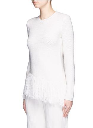 Front View - Click To Enlarge - Theory - 'Hudina R' fringe hem bouclé knit sweater