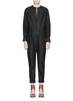 Main View - Click To Enlarge - Isabel Marant - Collarless cotton poplin jumpsuit